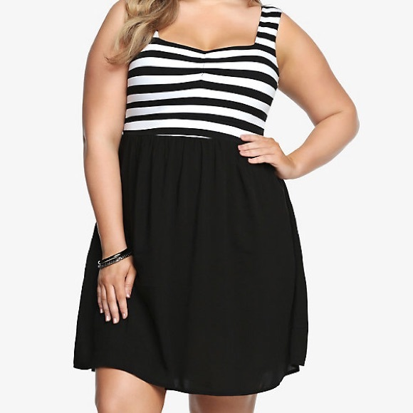 Black and white striped tank dress- plus size